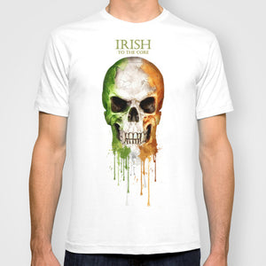 Irish To The Core Skull Irish Flag T-shirt - Cozzoo