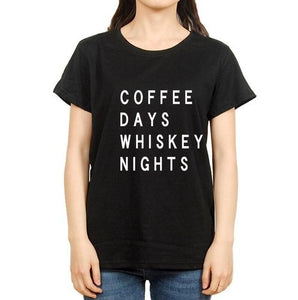 Coffee Days Whiskey Nights - Women's Drinking T-shirt - Cozzoo