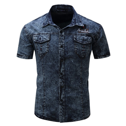 Dark Blue Button Downs Denim Jeans Men's Polo Shirt - Cozzoo