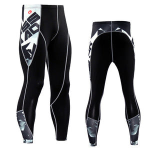 Skull Design  Compression Male Running Tights - Men Running Pants - Cozzoo