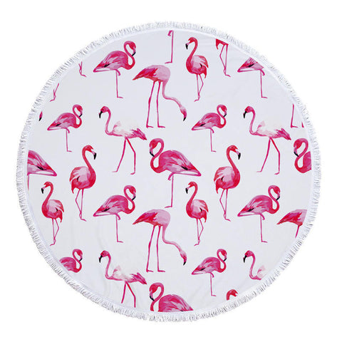 Flamingo Pineapple Summer Swimming Plage Tassel Tapestry Round Beach Towels - Cozzoo