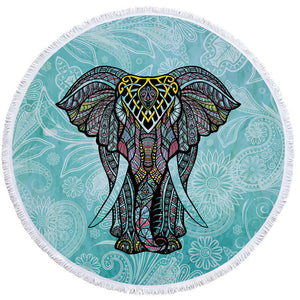 Indian Elephant Tassel Tapestry Round Beach Towels - Cozzoo