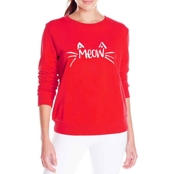 Meow - Women Cat Sweatshirt - Cozzoo