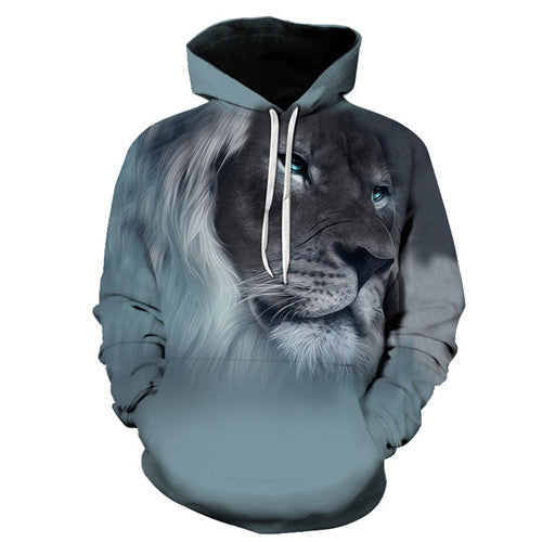 Lion Face All Over Print Hoodie Sweater - Cozzoo