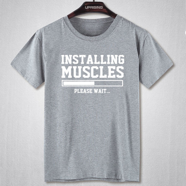 Installing Muscles - Men Fitness T-shirt - Cozzoo
