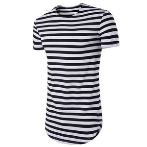 Stripes Cotton Men Longline Shirts Extra Long Oversized Tall Tees - Cozzoo