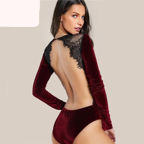 Burgundy Velvet Backless Women Bodysuit Lace Elegant Applique Long Sleeve Vintage - Cozzoo
