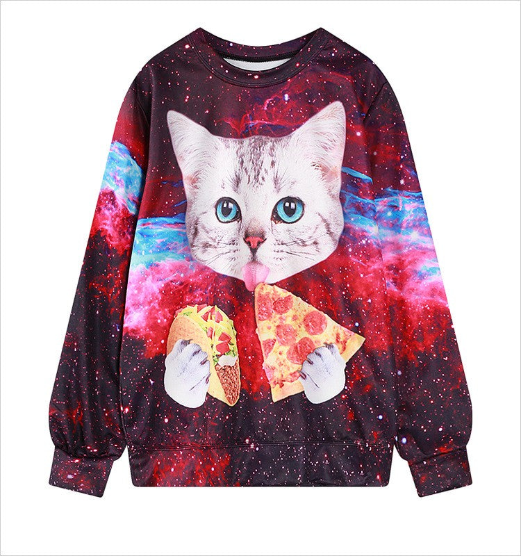 Cat Eating Pizza - Women's Sweatshirt - All Over Print - Cozzoo