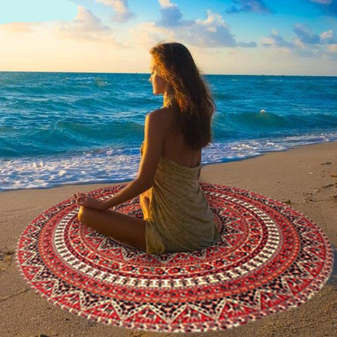 Wall Hanging Mandala Tapestry Round Beach Towels - Cozzoo