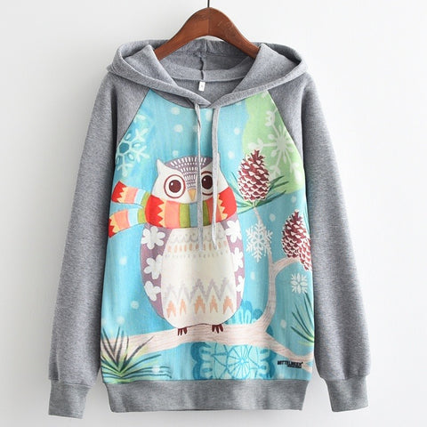 Cute Winter Owl All Over Print Pullover Hoodies - Cozzoo