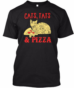 Cat Tats & Pizza - Unisex Pizza T-shirt - Cozzoo