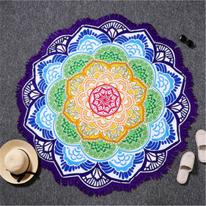 Indian Toalla Mandala Tassel Tapestry Round Beach Towels - Cozzoo