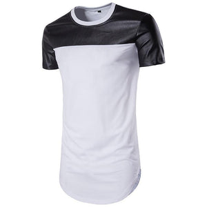 PU Leather Top Part Men Longline Shirts Extra Long Oversized Tall Tees - Cozzoo
