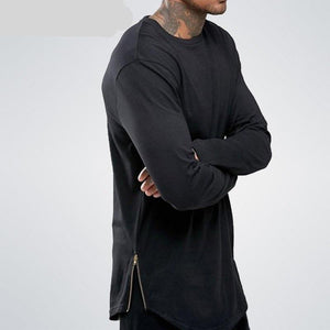 Cotton Long Sleeves Men Longline Shirts Extra Long Oversized Tall Tees - Cozzoo