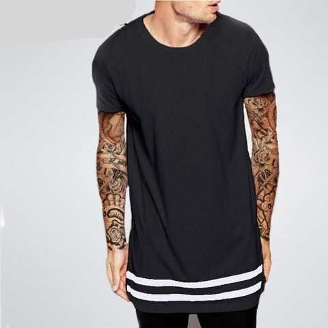 Stripes Trims Men Longline Shirts Extra Long Oversized Tall Tees - Cozzoo