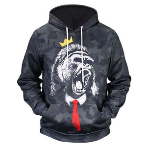 Gorilla Kong Neck Tie Gold Crown All Over Print Hoodie - Cozzoo