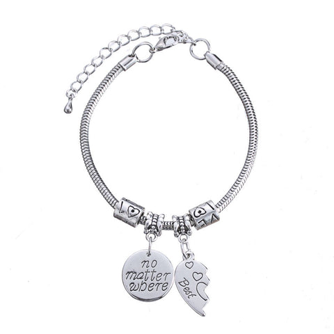 Best Friend Jewelry - BFF - Friendship -No Matter Where Compass Charm Bracelets - Cozzoo