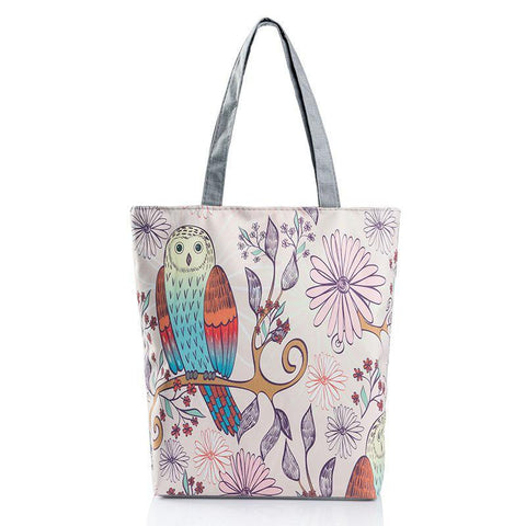 Owl And Flowers Handbag/Shoulder Shoulder Beach Tote Purse Canvas Handbags Totes Bags - Cozzoo