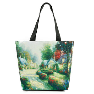 Village Paint Handbag/Shoulder Shoulder Beach Tote Purse Canvas Handbags Totes Bags - Cozzoo