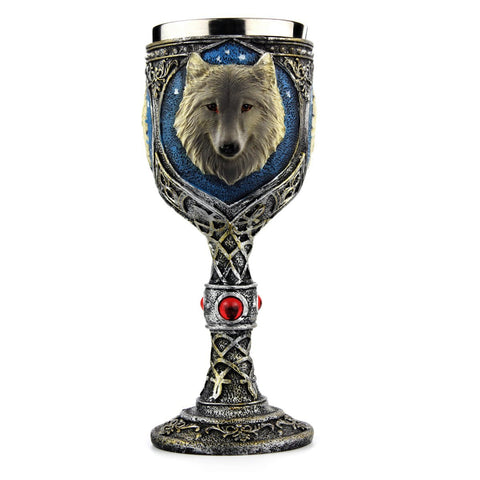 Stainless Steel  Wolf Vintage Cute Drinking Wine Glasses Champagne Cocktail Glass Goblets - Cozzoo