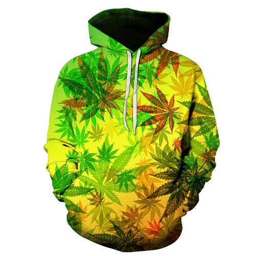 Weed Marijuana Leaf Pattern All Over Print Hoodie Sweater - Cozzoo