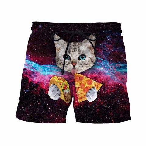 Mens Swim Trunks - Taco Pizza Cat - Swimming Shorts Bathing Suits Swimwear Swimsuit Bathing Suit - Cozzoo