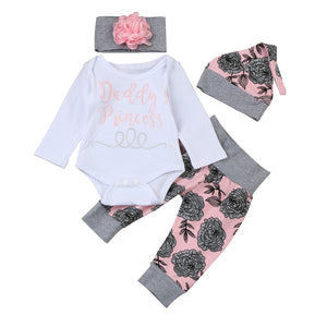 Newborn Baby Girls Daddy's Princess Letter Long Sleeve Tops Romper Pants Hat Headband Florals Prnting Fashion Baby Set Outfits - Cozzoo