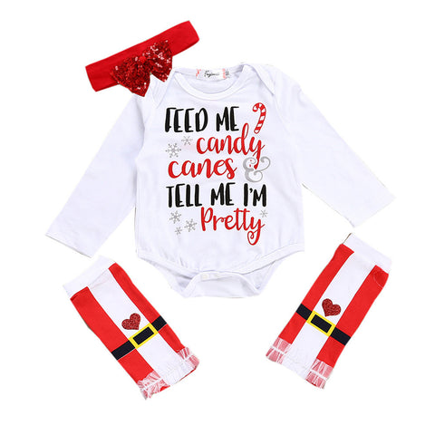 Christmas Newborn Baby Girl Clothes Long Sleeve Letter Print Romper Tops+Striped Leg Warmer Headband 3PCS Clothing Set - Cozzoo
