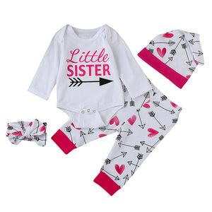 4PCS Set Newborn Baby Girl Boy Clothes Long Sleeve Cotton Romper Long Pants Hat Headband Outfits Clothing Bebek Giyim Suit 6-24M - Cozzoo