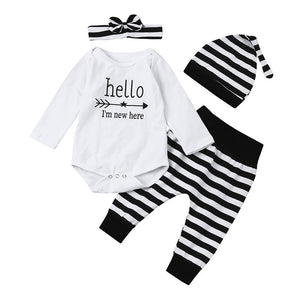 Autumn Baby Set 4PCS Newborn Baby Little Girl Romper Hello I'm new here Striped Tops +Long Pants+Hat+Headband Outfit Clothes Set - Cozzoo