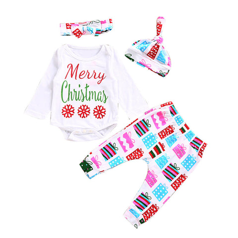 My First New Years Baby Boy Girls Print Tops Romper Clothes Sets Christmas Party Clothing Wear Romper Long Pants Hat+Headband - Cozzoo