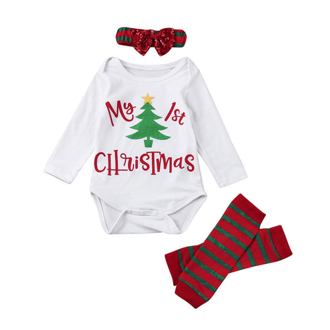 3Pcs Christmas Newborn Baby Boys Girls Sequin Letter Long Sleeve Romper+Striped Leg Warmer+Bownot Headband Clothes Set - Cozzoo