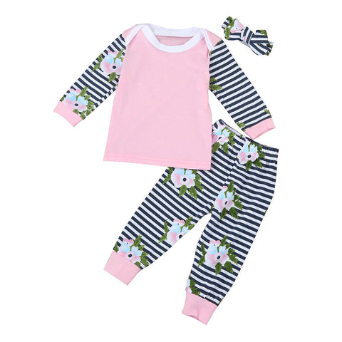 Fashion Autumn Newborn Infant Baby Girl Boy long sleeve Floral stripes Print Tops+Pants+Headband Outfits Clothes Set - Cozzoo