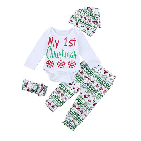 My First Christmas Letter Infant Baby Boy Girl Outfits Clothes Romper Pants Leggings Hat Headband 4PCS Set Babies Clothes - Cozzoo