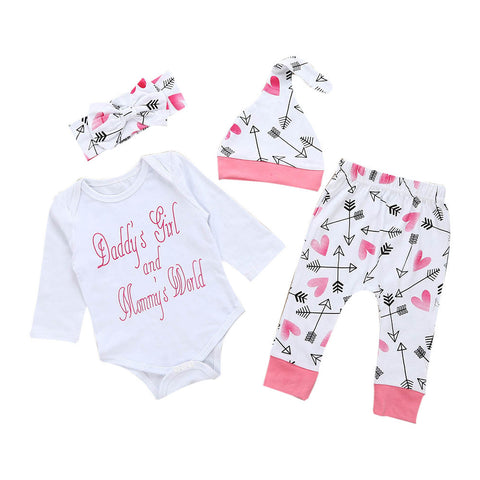 4 Pcs/Set Newborn Toddler Baby Girl Clothes Long sleeves Baby Letter Romper Top+Pants+Hat+Headband Outfits Infant Clothing Set - Cozzoo