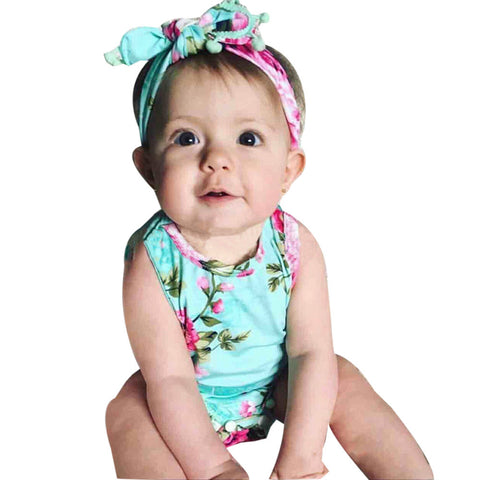 Lovely Baby Girl Romper Clothes Summer Floral Tassel Bodysuit Jumpsuit +Headband 2PCS Outfit Sunsuit Tracksuit Clothing Set - Cozzoo