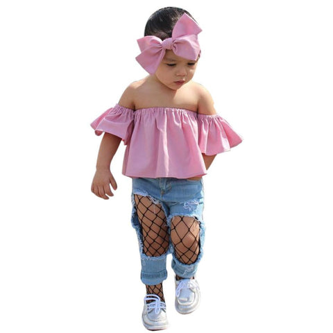 Summer Toddler Kids Clothes Casual Baby Girls Clothing Set Off Shoulder Ruffle T-Shirt Tops+Hollow Denim Pants+Headbands Outfits - Cozzoo