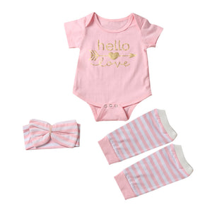 Newborn Infant Baby Girl Short Sleeve Arrow Romper+Striped Leg Warmers Headband 3pcs Pink Outfits Set Clothes - Cozzoo