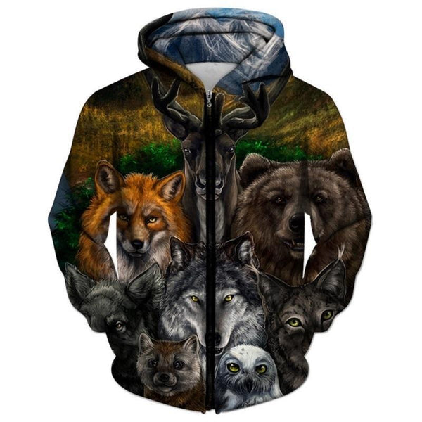 Bear Wolf Deer Fox All Over Print Zipper All Over Print Hoodie - Hunting Sweater - Cozzoo