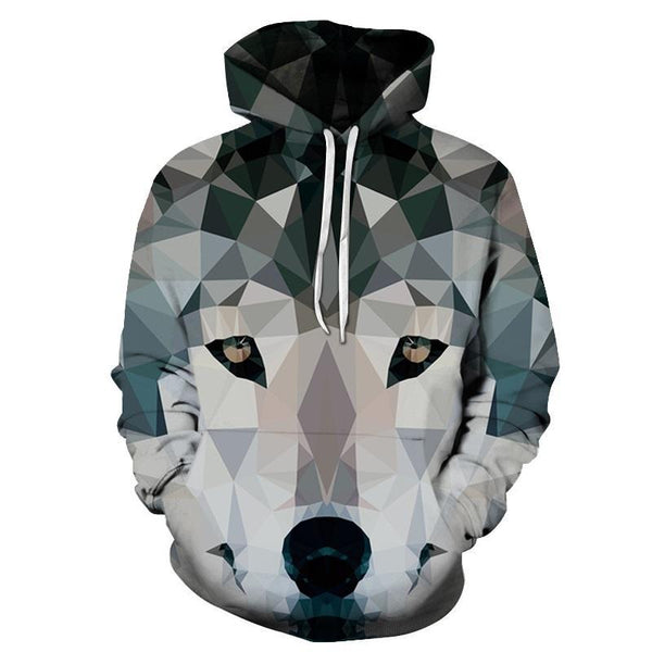 Crystalized Cubism Wolf Face Hoodie Sweater - Cozzoo