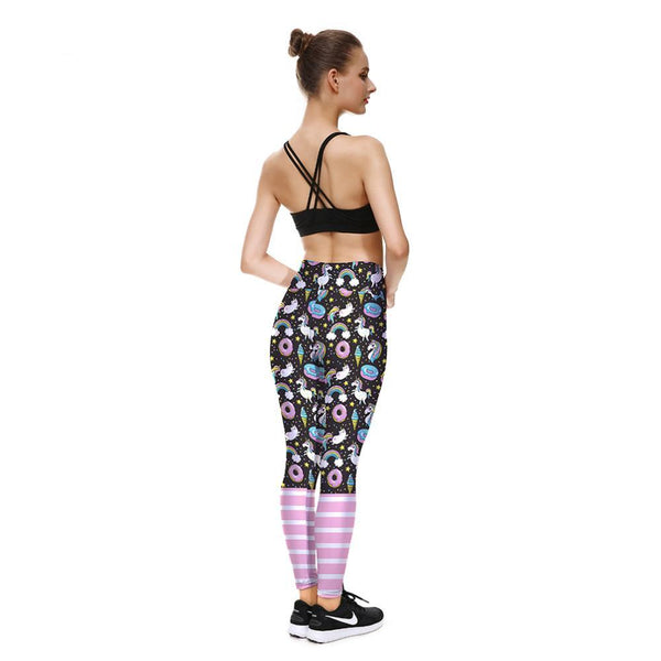 Donut Ice Cream Rainbows Stars Unicorns Clouds Leggings. Fitness Workout - Cozzoo