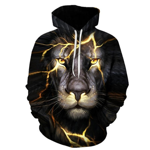 Mean Mug Lion Lighting King Of The Jungle All Over Print Hoodie Sweater - Cozzoo