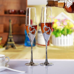 Heart Shaped Toasting Flutes Cute Drinking Wine Glasses Champagne Cocktail Glass Goblets - Cozzoo