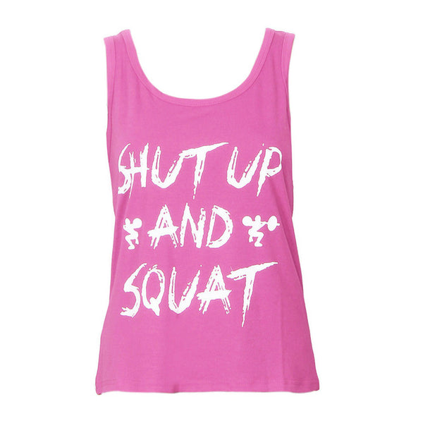 Shut Up And Squat Ladies Tank Top - Gym, Fitness, Workout Women Top - Cozzoo
