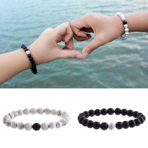 Best Friend Jewelry - BFF - Friendship - Natural Stone White Black Yin Yang Beaded Bracelets - Cozzoo
