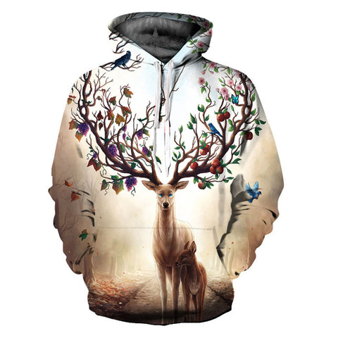 Deer Large Antlers Christmas Ornaments All Over Print Hoodie Sweater - Cozzoo