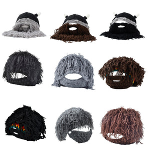 Funny Mustache Children & Adult Bearded Beanie Knitted Hat - Cozzoo