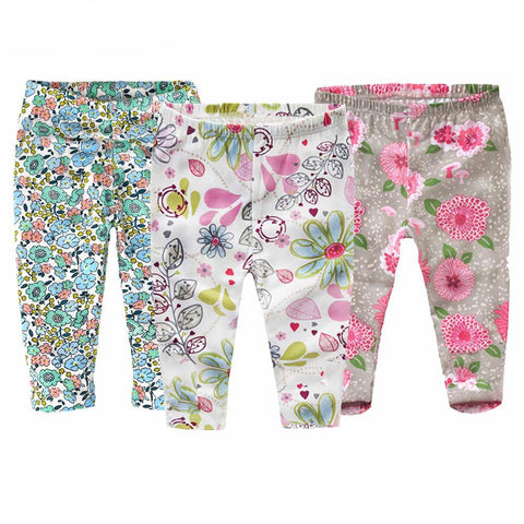 Gray, White, Blue Floral Collection Leggings Kid Child Baby Toddler New Born Infant Pants - Cozzoo
