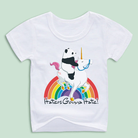 Panda Riding Unicorn - Rainbow - Haters Gonna Hate! - Kid T-shirt - Cozzoo