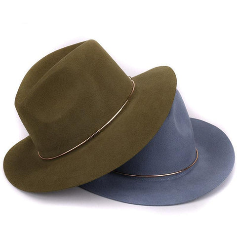 Fedora Trilby Hat - Wool (Grey, beige, green, black, pink, blue) - Cozzoo